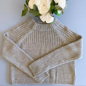 Banana Republic Crop Mock-Neck Wool Sweater